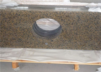 China Sink Hole Cutout Prefab Bathroom Vanity Tops Tropical Brown Granite supplier