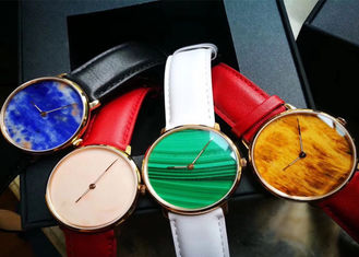 China Multi Color Luxury Stone Craft , High End Quartz Watch With Marble Dial supplier