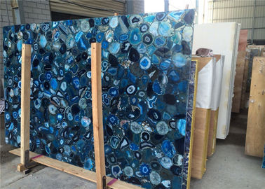 China 2cm Thickness Natural Blue Agate Slab For Mall Decoration CE Certificated supplier