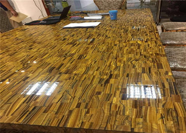 China Deluxe Semi Precious Stone Slabs Tiger Eye Stone Customized Size supplier