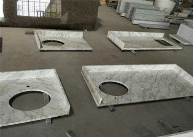 China Apartment Andromeda White Granite Prefab Bathroom Vanity Tops With Flat Edge supplier