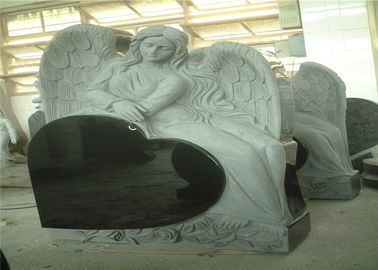 China Heart Shaped Engraving Granite Headstones , Carved Angel Custom Memorial Stones supplier