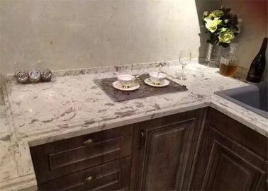 China Customized Fancy White Quartz Prefab Stone Countertops For Kitchen Cabinet supplier