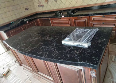 China Veins Luxury Quartz Prefab Stone Countertops For Kitchen Dinning Table supplier