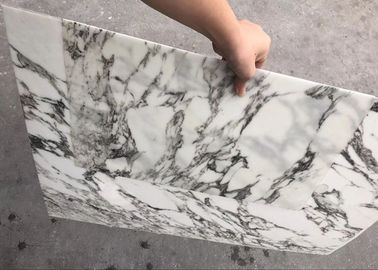 China White With Black Veins Ultra Thin Stone Marble Tile For Decoration supplier