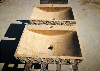 China Square Marble Counter Basin , Natural Stone Kitchen Sinks With Pedestal Faucet supplier