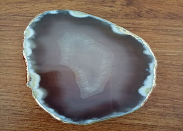 China Natural Color Polished Agate Slices , Stone For Crafts Gold Edge Coasters supplier