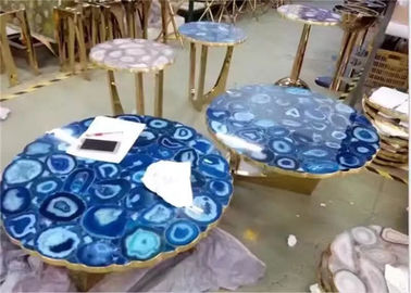 China Luxury Marble Table Tops Blue Agate Stone Top Polished Finish Round Shape supplier