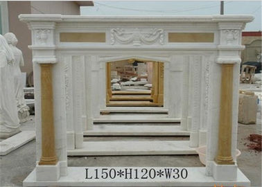 China Natural White Marble Fire Surround , Marble Around Fireplace Classic Column Shape supplier