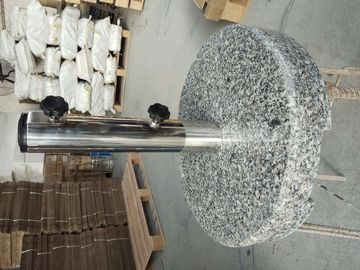 China Round Grey Granite Parasol Base , Hand Carry Sun Umbrella Stone Base With Wheel supplier