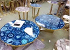 China Luxury Marble Table Tops Blue Agate Stone Top Polished Finish Round Shape factory
