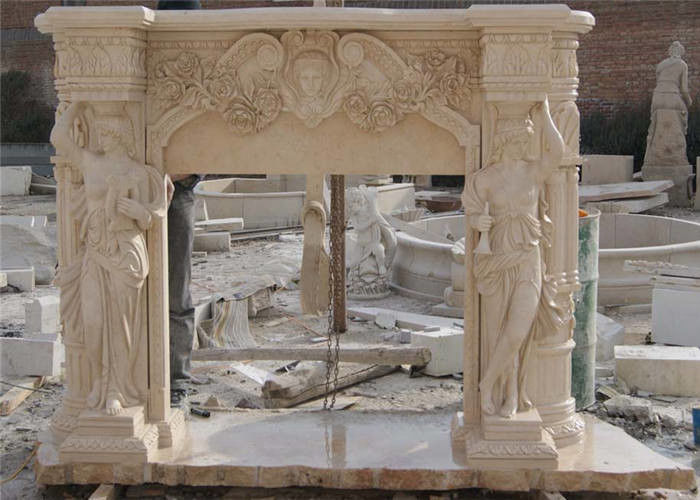 Finely Carved Stone Fireplace Surround , Beige Marble Fire Surrounds