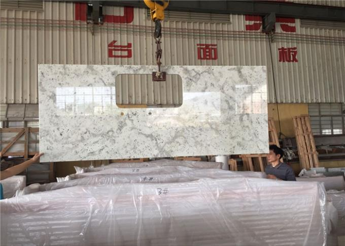White Granite Prefab Kitchen Countertops With Polished Eased Edge Customized Size