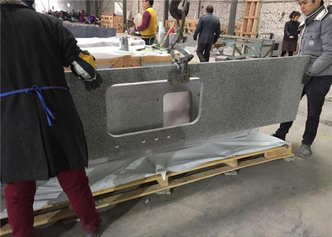 Silver Grey Granite Prefab Stone Countertops Bar Top Easy Cleaning