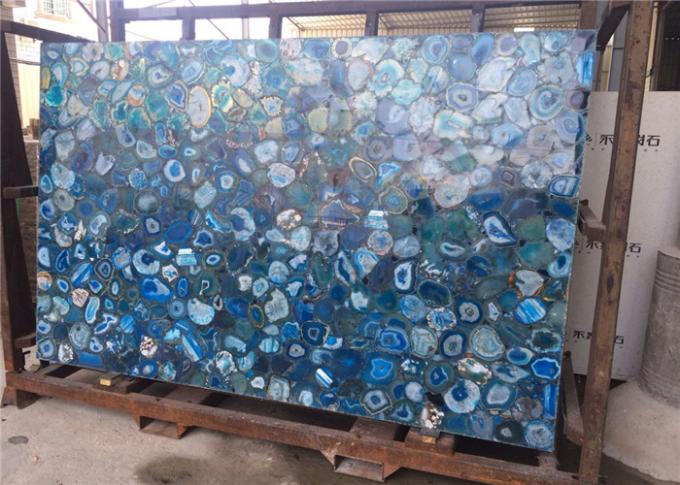 2cm Thickness Natural Blue Agate Slab For Mall Decoration CE Certificated