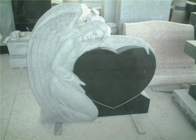 Heart Shaped Engraving Granite Headstones , Carved Angel Custom Memorial Stones