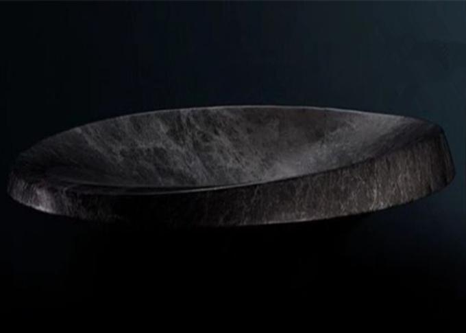Black Mable Natural Stone Sink Modern Round Shape Polished Finishing
