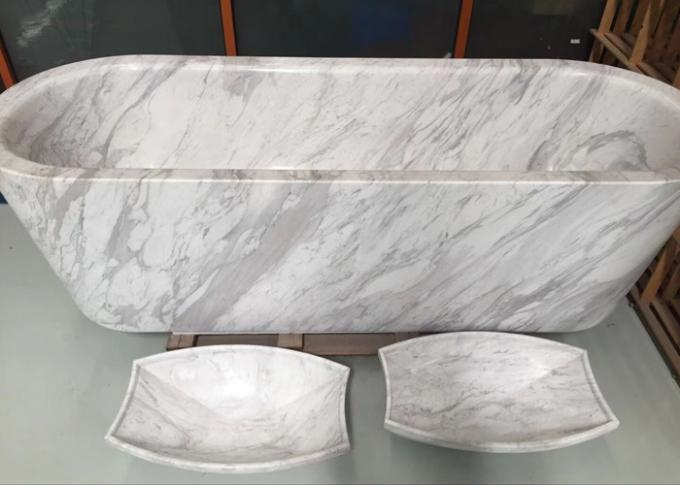 Polished Treatment Luxury Natural Stone Bathtub Marble Material Freestanding Type