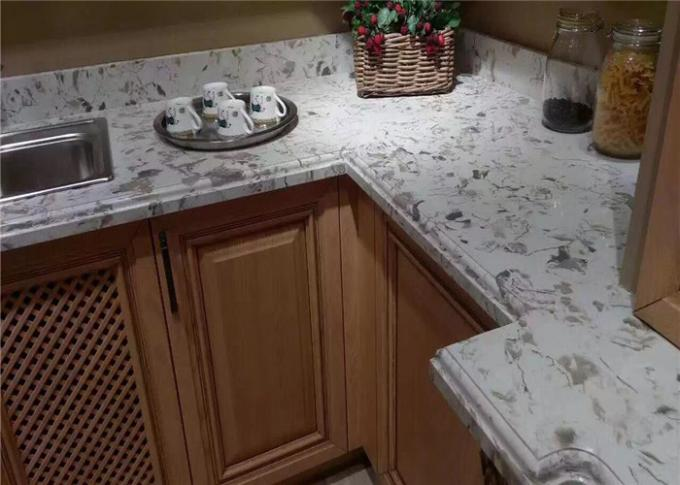 Remolding White Quartz Prefab Kitchen Countertops Beautiful Appearance
