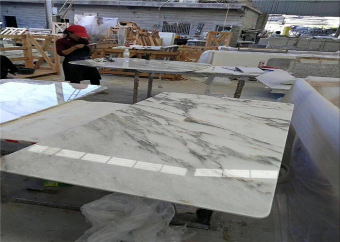 Round Edge Marble Stone Table Tops , Working Table Top With Wide Color Range