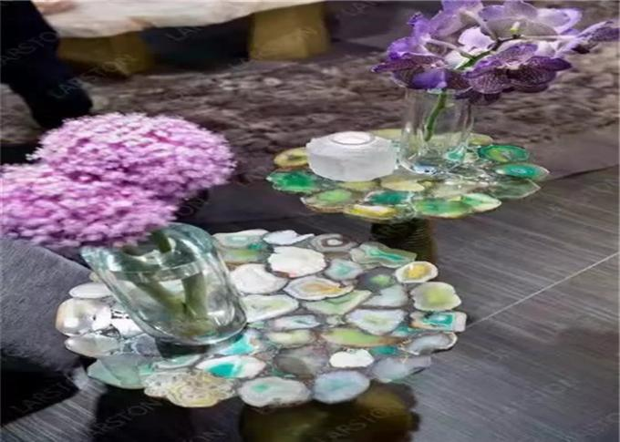 Luxury Marble Table Tops Blue Agate Stone Top Polished Finish Round Shape
