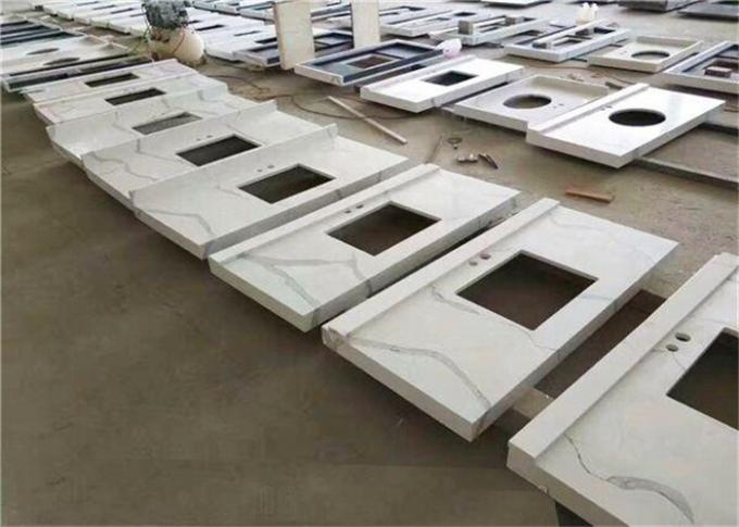 Calacatta Quartz Stone Prefab Bathroom Vanity Tops For Home Building
