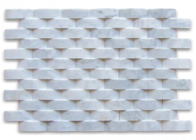 3D Cambered Stone Mosaic Tile Customized Size For Kitchen Wall Decoration