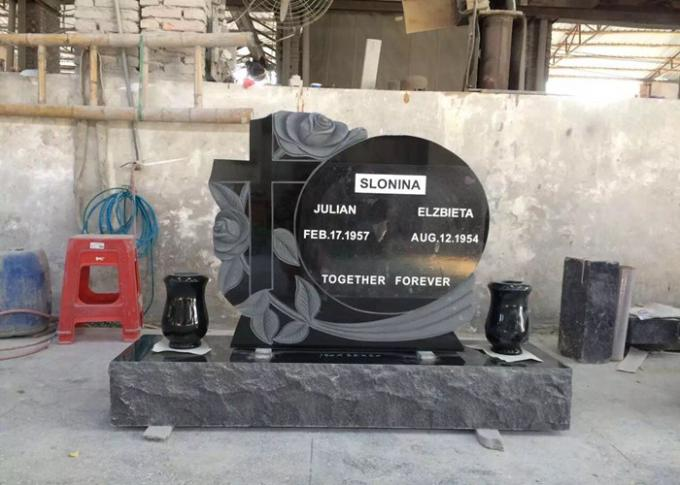 Modern Black Granite Tombstone And Monument Square Rectangle Shape Polished Surface