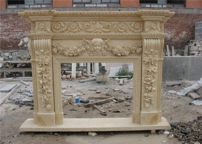 Finely Carved Stone Fireplace Surround , Beige Marble Fire Surrounds For Gas Fires
