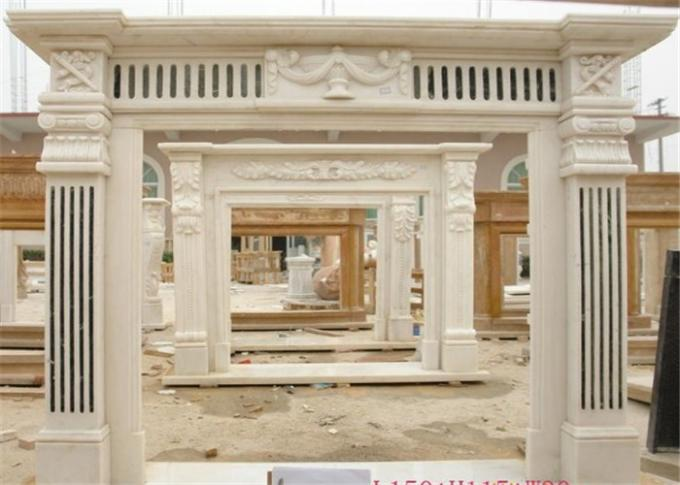 Natural White Marble Fire Surround , Marble Around Fireplace Classic Column Shape