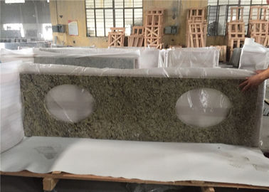China Superior Double Sink Prefab Bathroom Vanity Tops Venetian Gold Granite Stone distributor