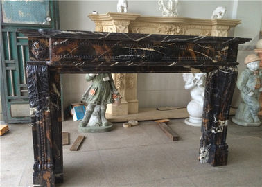"China 54"" 60"" Black Portoro Marble Fireplace Surround With Classic Appearance factory"