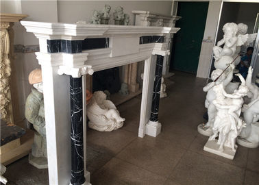 China Simple Column Marble Fireplace Surround Natural White Color Elegant Appearance factory