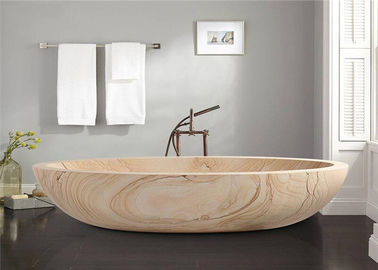 China Oval Shaped Durable Natural Stone Bathtub Sandstone Travertine Material distributor