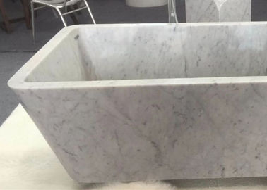China Customized Natural Stone Tub , White Marble Bath With Grey Veins distributor