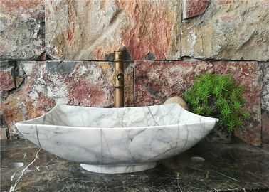China Polygonal Marble Bathroom Sink , Natural Stone Vessel Sinks For Bathroom distributor