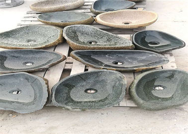 China Outdoor Natural Stone Sink Changeable Green Pebble Stone Material Customized Size distributor