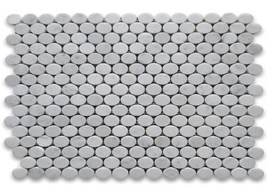 China 30x30cm Marble Mosaic Floor Tile , Round Mosaic Tiles Easy Installation factory