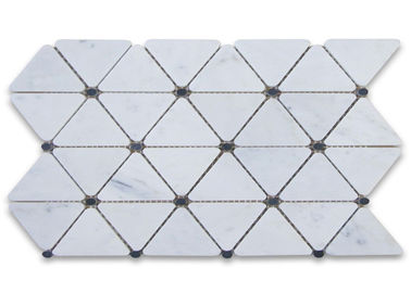China Triangle Dots Carrara Marble Mosaic Tile , Decorative Mosaic Tiles Honed Finish distributor