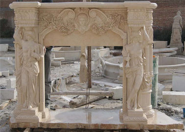 China Finely Carved Stone Fireplace Surround , Beige Marble Fire Surrounds For Gas Fires distributor