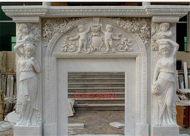 China Meticulous Freestanding Marble Fireplace Surround With Angel Sculpture distributor