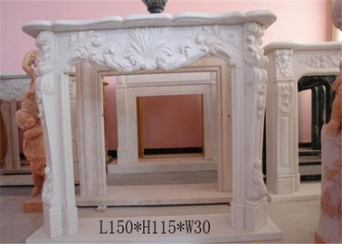 China Customized Size Marble Fireplace Surround With Carved Flower Design distributor