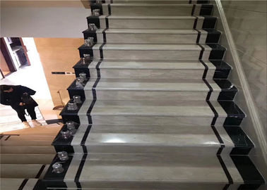 China Classic Cut Natural Building Stone White Black Marble Stone Staircase Riser distributor