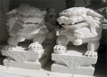 China White Jade Marble Lion Sculpture , Stone Animal Sculptures Customized Color distributor