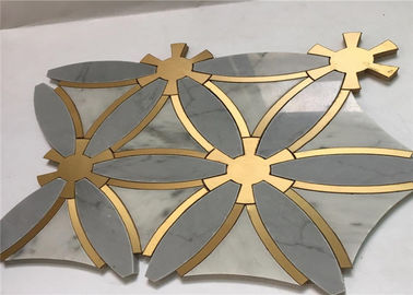 China Special Design Marble Stone Metal Mosaic Tile Regular Interior Wall Tile distributor