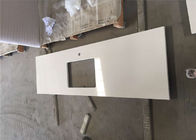 White Quartz Prefab Stone Countertops For Restaurant Single Sink Bench Top