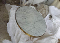 Classic Carrara Marble Table Top , Round Coffee Table Top With Golden Edge